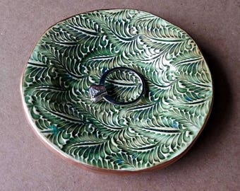 Ring Dish  Ring Bowl Ring Holder Moss Green Fern edged in gold Ceramic