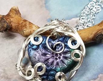 Heart Gear Steampunk Silver Wire Wrapped Pendant