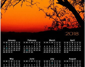 """Burning Orange and Red Sunset Through Trees 2018 Full Year View 8"""" Calendar - Magnet or Wall #3854"""