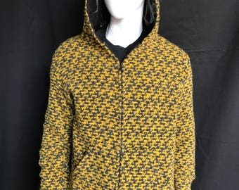 Wool Zip Hoodie for Men with Shimmery Silk Hood Lining - Menswear, Unique, Festival Clothing, Luxe
