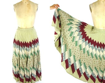 Handmade Vintage Patchwork Hippie Maxi Skirt Cotton OOAK Long Boho Gypsy Bohemian Festival Circle Ankle Length Skirt Medium Large
