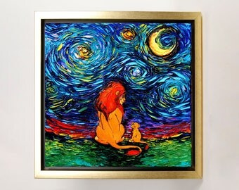 Lion King inspired Art FRAMED CANVAS print van Gogh Never Saw The Sahara starry night Aja 8x8, 10x10, 12x12, 16x16, 20x20, 24x24, 30x30