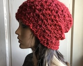 Soft Red Slouch Hat Ladies Hat Crochet Slouch or Fold Brim