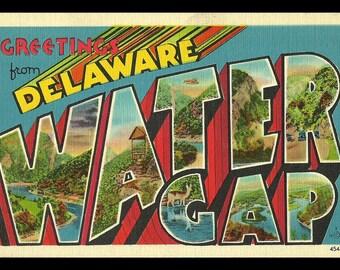 Water Gap Delaware Postcard Greetings Scenic Large Letter Vintage DE PC