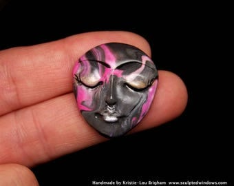 Pink & Black Swirls Face Cab Handmade Polymer Clay Cabochon beading supply, art doll part, collage