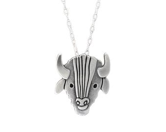 Sterling Buffalo Necklace - Silver Bison Pendant