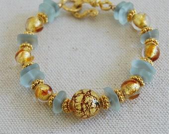Murano Glass Bracelet Aqua Sea Glass Gold Topaz Glass Venetian Glass Summer Glass Jewelry Gold Greek Jewelry Elegant Gold Bracelet