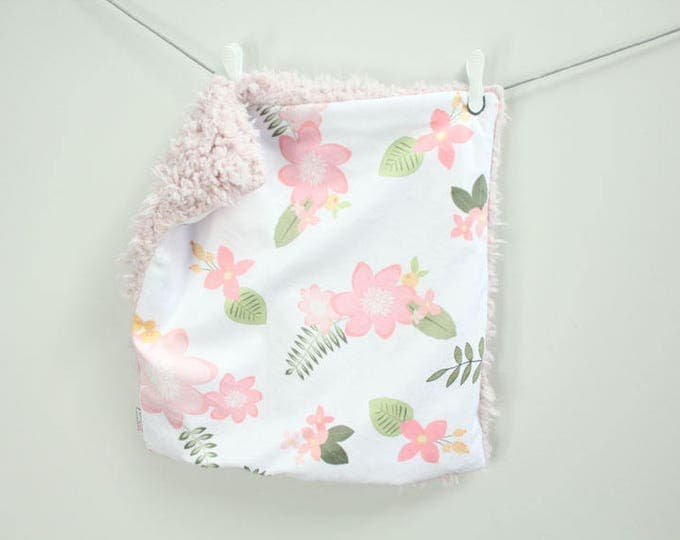 Rose Floral Lovey Blanket faux fur minky READY TO SHIP baby gift cloud blanket llama newborn gift plush photo prop toddler child