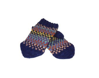 Hand knit Hand Dyed Wool Mittens Multi-colored