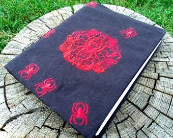 SALE Gothic Red Spider Journal Book Cover, Goth Gothic, Sketchbook, Smashbook, Black Linen, EGL Lolita, Machine Embroidered, Hard Bound Book