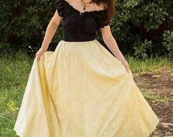 Buttercream Yellow Pintuck Taffeta Renaissance Skirt - Steampunk Costume - Ren Faire Garb - Womens Halloween Costume - Medieval Clothing