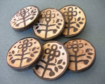 Faux Carved Flower Slice Buttons Brass Shanks 25mm 1 inch lot of 6