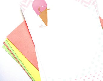 Strawberry ice cream cone writing paper set - Illustrated writing paper set with envelopes and assorted stickers