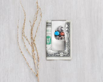 Vintage Bear Money Clip - sterling silver decoration on silver tone clip - turquoise coral stones - Native American
