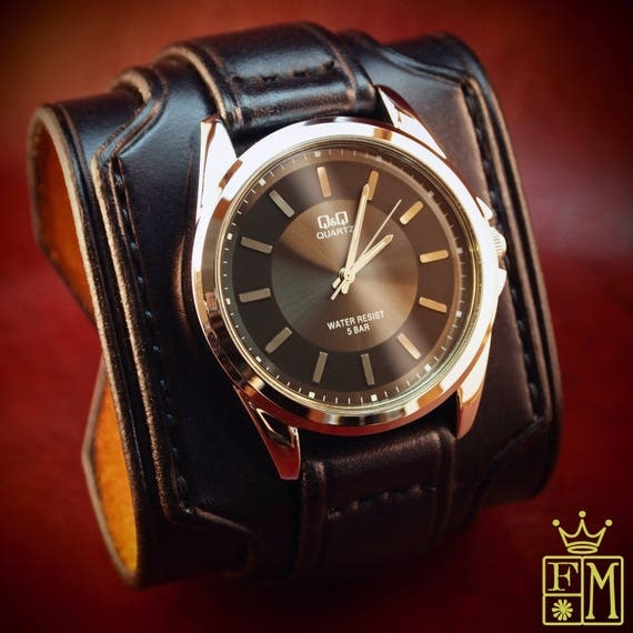 """Leather cuff watch Slick Black vintage style 2.5"""" Wide layered wristband bracelet made in USA for YOU by Freddie Matara!"""
