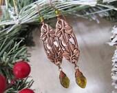 Greenleaf - Art Nouveau Leaf Dangle Earrings in Copper