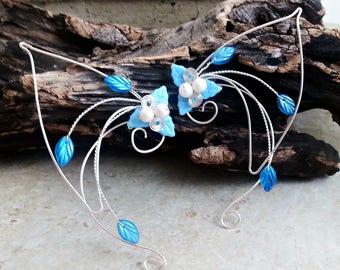 Aqua Blue Elf Ear Cuff Wraps Pair or Single, Mermaid Ear Cuffs,  Fairytale Beach Fantasy Wedding Jewelry, Elf Ears, Cosplay