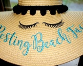 Personalized Resting Beach Face Pom Pom Straw Floppy Hat Beach Vacation Cruise Honeymoon Out of Office Monogrammiong