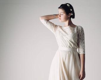 Lace wedding top, Long sleeve wedding dress, Lace top, Bridal separates, Wedding top, Wedding separates, Boho wedding dress, lace blouse