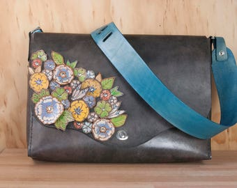 Laptop Bag - Leather Messenger Bag in the Flower Garden Pattern - Antique Black with Flowers - Womens Leather Briefcase