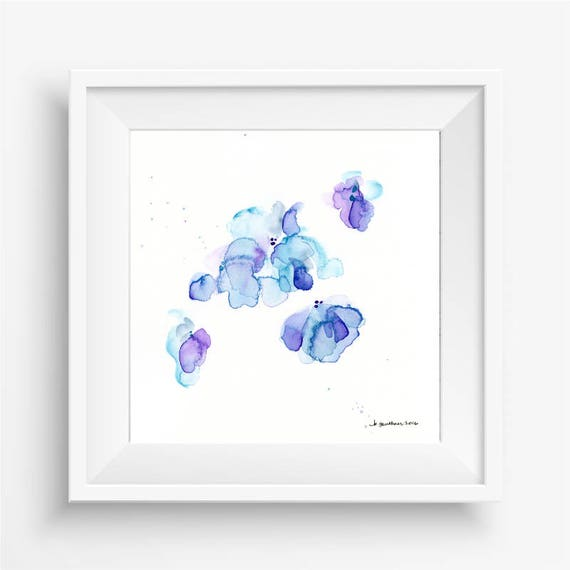 "Original watercolor flower painting: ""Raindrop Blossoms"""
