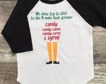 Elf Boys unisex Girls Top 3/4 Sleeve T Shirt red Green White Holiday Christmas elf Santa movie quotes tshirt