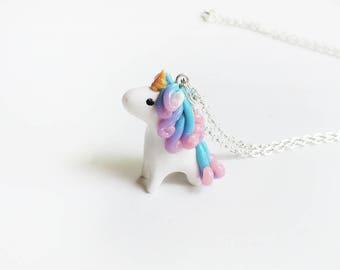 Pink Purple Blue Galaxy Miniature Unicorn Charm Necklace