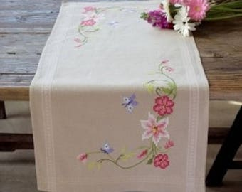 Pink Flowers and Butterflies Table Runner Cross Stitch Kit by Vervaco