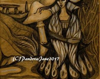Mushroom Fae Print, Fantasy Art, Faery Art