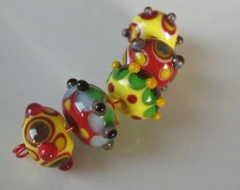 Handmade glass beads-lampwork beads-loose beads-set of five lampwork beads-SRA