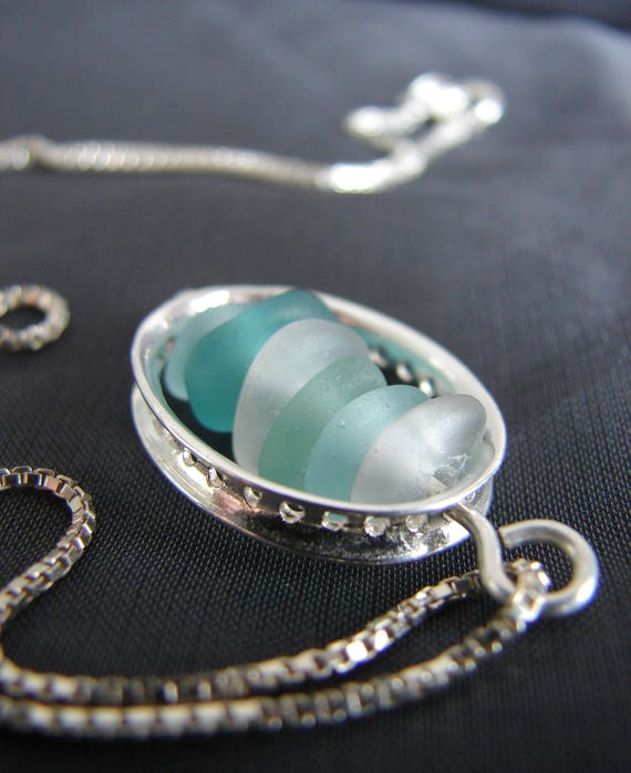 Drops in the Ocean sea glass necklace in aqua, teal and white