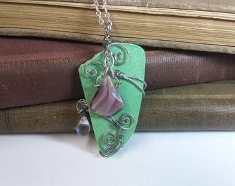 Green Stone Pendant with Purple Bead Necklace