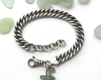 Unusual Vintage Sterling Silver Slinky Curb Chain Turquoise Seaglass Beach Glass Bracelet
