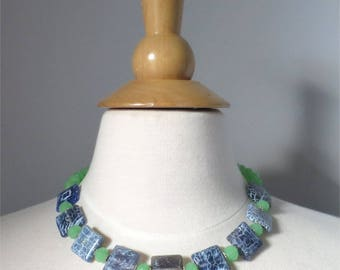 Necklace blue squares and green glass short SALE 50% off listed price