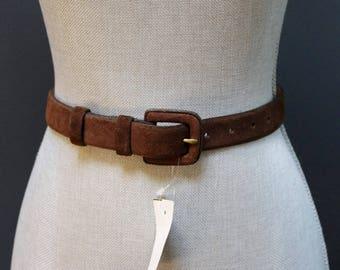 Vintage Suede Belt, Brown Waist Belt, Brown Suede Belt, Brown Leather Belt, Square Buckle Belt, Antiqued Brass, Size Small