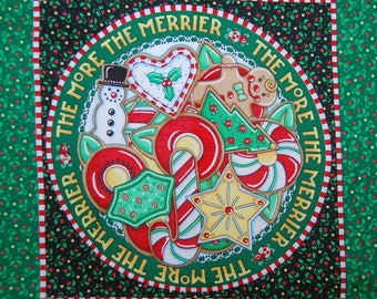 MARY ENGELBREIT FABRIC Christmas panels Be Warm More the Merrier quilting cotton 2002