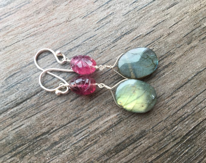 Handcarved Pink Tourmaline and Smooth Flashy Labradorite Oval Drop Earrings