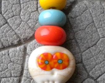 Murrini Mini Skull Bead Lampwork Beads by Cherie Sra R114 Flamework Lampwork Focal Beads Skull Murrini Sugar Skull Day of the Dead Lampwork