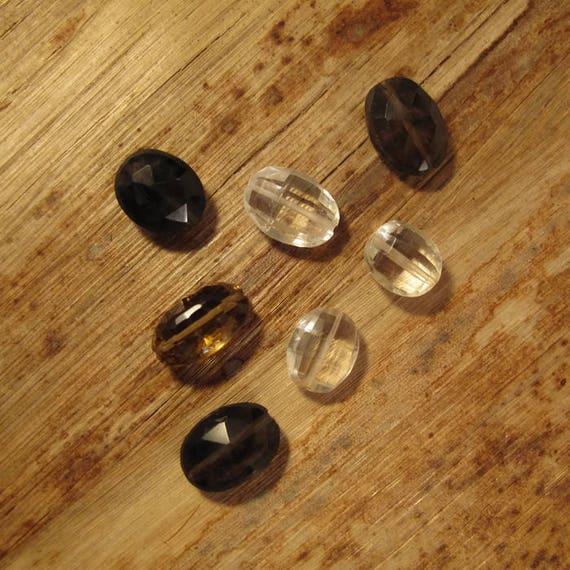 7 Gemstone Beads, Nine Oval Beads, Gemstone Mix, Smoky Quartz, Crystal Quartz & Beer Quartz, Jewelry Supplies (L-Mix14)
