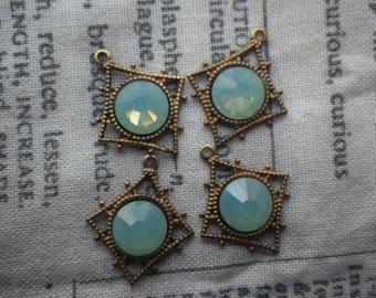 Pacific Green Opal Jade Green Swarovski Crystal Pagoda Drops 4 Pcs