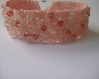Hand beaded Cuff Bracelet in Pink