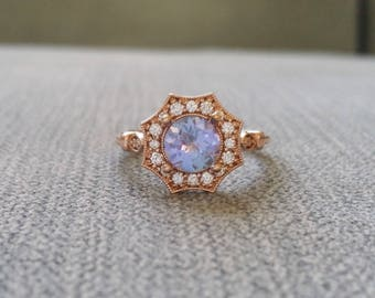 "Upgraded Halo Tanzanite Diamond Ring Gemstone Engagement Ring Antique Purple Periwinkle Blue Flower Estate 14K Rose Gold Vintage ""The Elsa"""