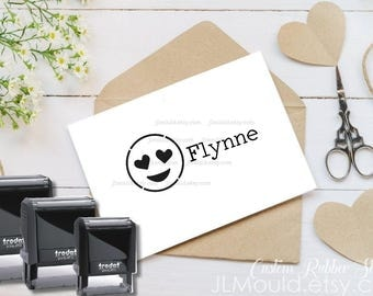 Children Stamp Self Inking Stamp Wooden Handle Stamp JLMould Custom Classroom Return Books Personalized Your Name Emoji Love