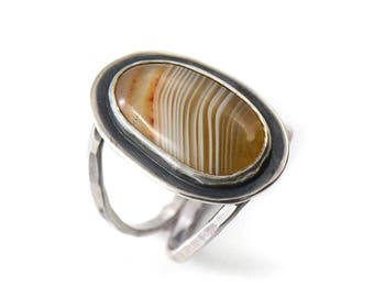 Handmade Lake Superior Agate Sterling Silver Double Band Ring Size 6.75