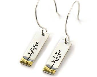 Little Long Brass Landscape Handmade Sterling Silver Earrings