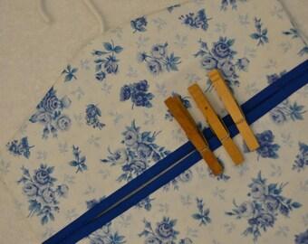 Blue Roses Clothespin Bag, Clothes Pin Bag, Recycle Bag, Storage Bag,