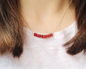 carnelian gemstone necklace - valentine necklace for her - faceted beaded necklace - semi-precious gemstone necklace - bead bar necklace