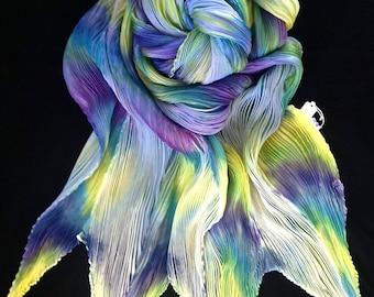 Favorite Movies - Arashi Shibori Hand Dyed & Hand Pleated Silk Shawl/Scarf