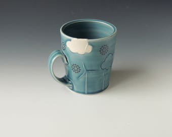 Windmill Ceramic Mug - blue porcelain clay coffee cup with wind turbines, clouds, and cooling towers - wheel thrown handmade pottery