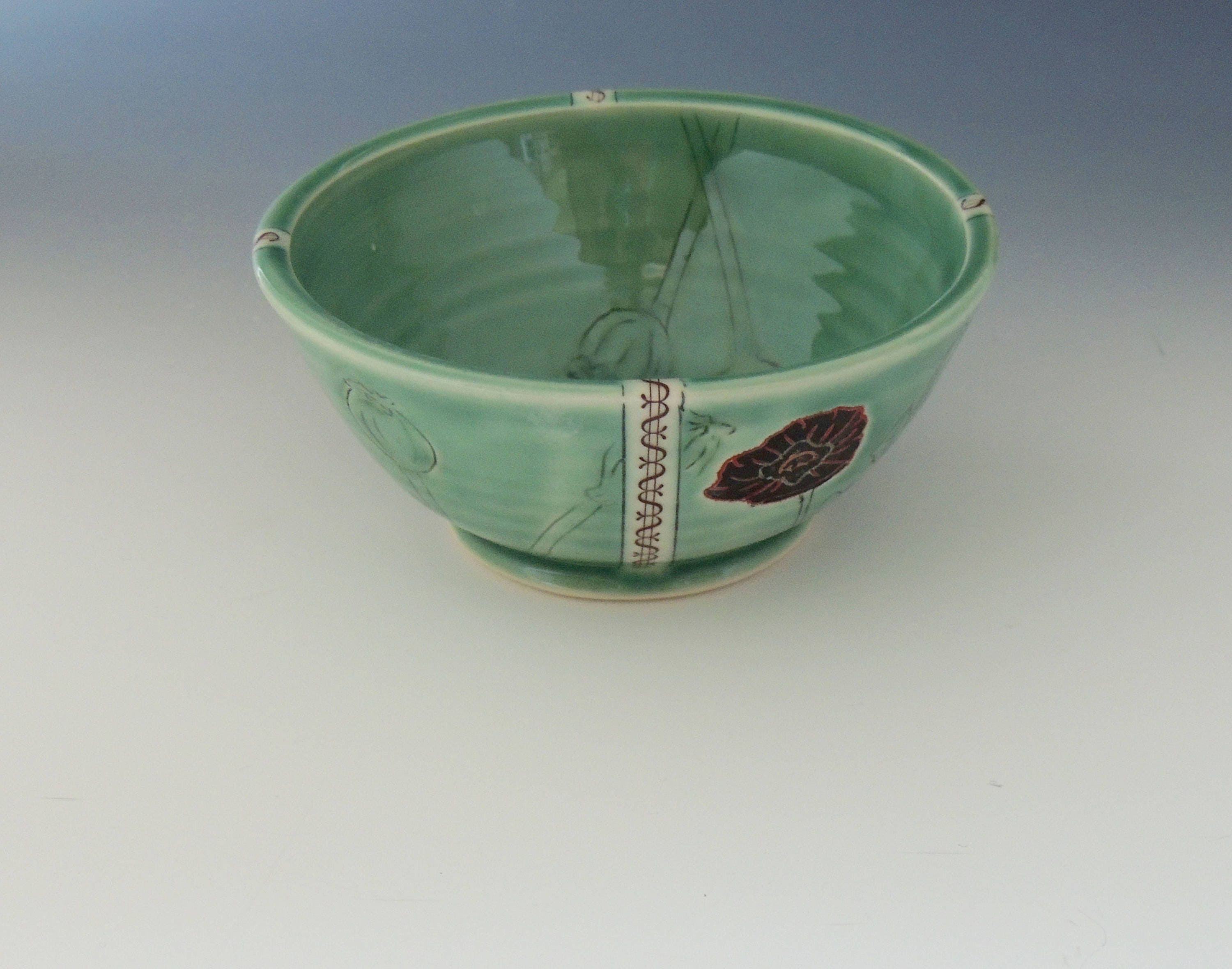 Ceramic Poppy Bowl Green Porcelain Clay Dish With Opium
